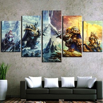 5 Piece Illidan Stormrage Game Canvas Printed Painting For Living Room Wall Art Decor Picture Artworks Modern Poster image