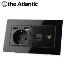 Atlectric de eu розетка с двумя usb портами для зарядки ТВ компьютер