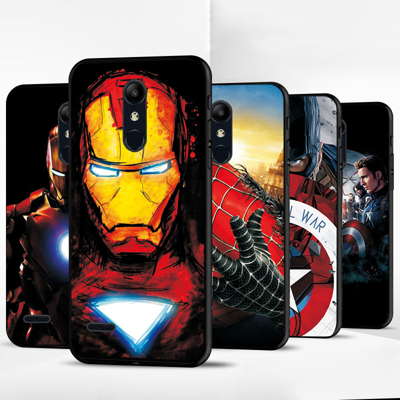 For LG K8 K10 2018 <font><b>Case</b></font> Cover K4 2017 Hot Avengers Iron man Black TPU Bumper For LG K12 K11 PLUS X4 2019 K40 <font><b>Phone</b></font> <font><b>Case</b></font> Silicone image