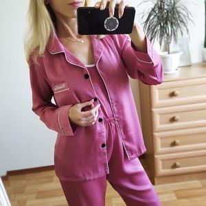 Image 3 - Mulheres pijamas 7 peça conjunto de seda manga longa superior cintura elástica calças salão completo feminino sleepwear conjuntos primavera verão casa wear