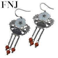FNJ Hetian Jade Flower Earrings 925 Silver Original Pure S925 Sterling Silver Drop Earring for Women Jewelry Tassel Red Agate