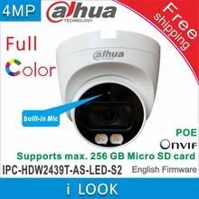 Frete grátis dahua 4mp cor cheia fixo-focal globo ocular câmera de rede IPC-HDW2439T-AS-LED-S2 embutido luzes quentes câmera ip mic