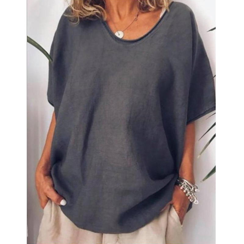 Women Tops Solid Color Batwing Sleeve Crew Neck Tops Short Sleeve Loose Top T-shirt Poleras Mujer De Moda 2019