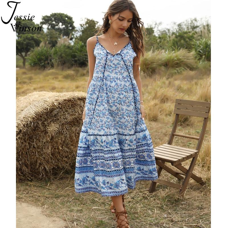 ❤Women Boho Floral Holiday Beach Backless Halter Maxi Dress Sleeveless Sundress❤
