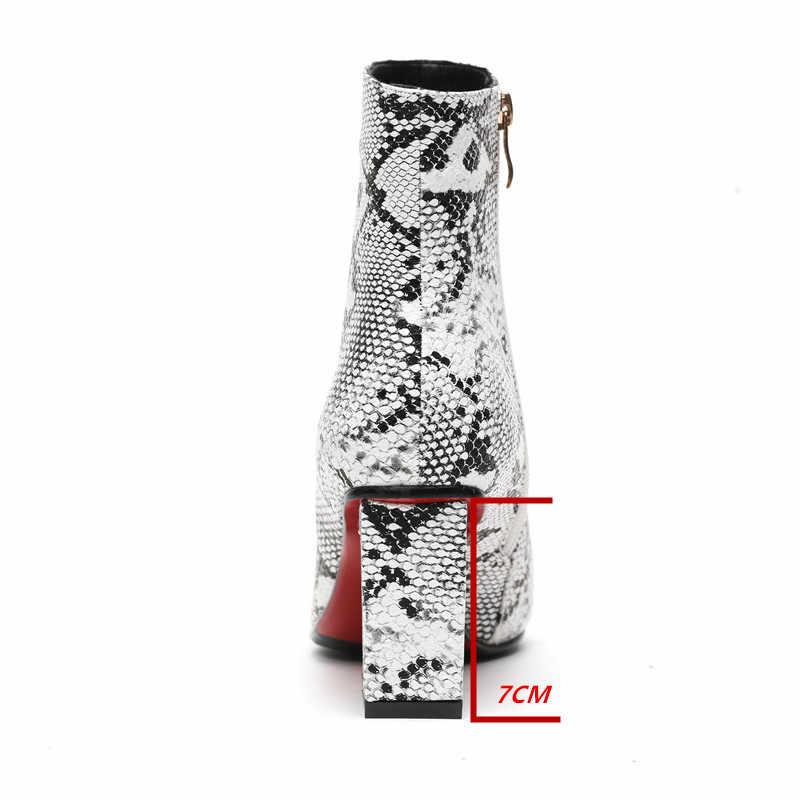 ZETMTC Print Snake Pu Vrouwen Enkellaars Zip Puntschoen Schoeisel Dikke Hoge Hakken Vrouwelijke Boot Schoenen Vrouwen 2019 slangenhuid bootie