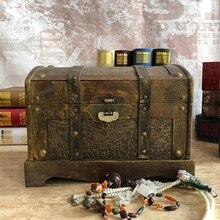Storage-Box Jewelry Room-Decorations Keepsake Wooden Home-Organizer Treasure Chest Pirate