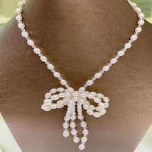YKNRBPH Unique Design Womens Pearl Butterfly Day Brides Wedding Rice-shaped Necklace Fine Jewelry 7-8mm