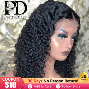 Malaysian Jerry Curly Short Bob Lace Front Human Hair Wig Pre Plucked For Black Women Glueless 13x4 Deep Wave Frontal Wig Remy(China)
