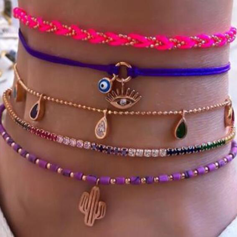 Tocona Water Drop Colorful Crystal Stone Anklets for Women 2020 Cactus Eyes Purple Bead Feet Chain Bohemain Jewelry 8947