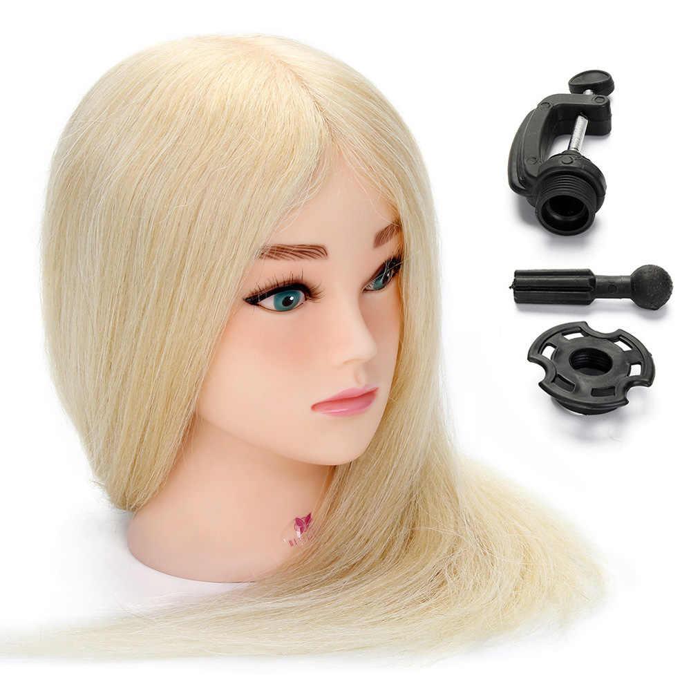 Cabeza para formación en peluquería de cabello humano Real de 20 pulgadas 100% para peinados, cabeza de maniquí para práctica y muñeca con abrazadera