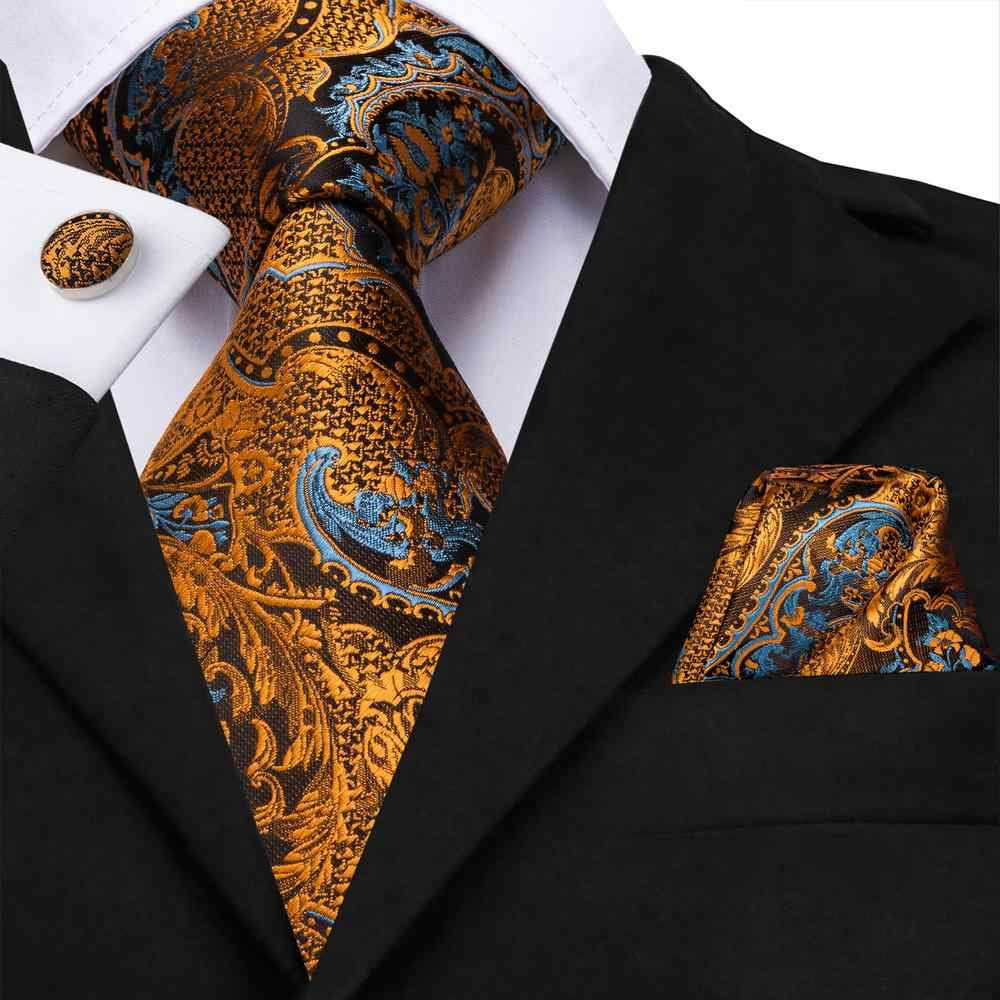 Hi-Tie Men White Gold Floral Tie Woven Silk Necktie with Cufflinks and Pocket Square Tie Set