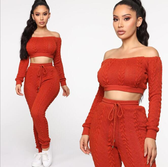 Ladies Oversized Knitted Co ord 2pc Set Womens Crop Long Sleeve Loungewear Suit