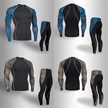 Brand New Mens Workout 3D Prints Tight Skin Compression Sport Suit Men MMA Rashguard Top Fitness Body Building Set