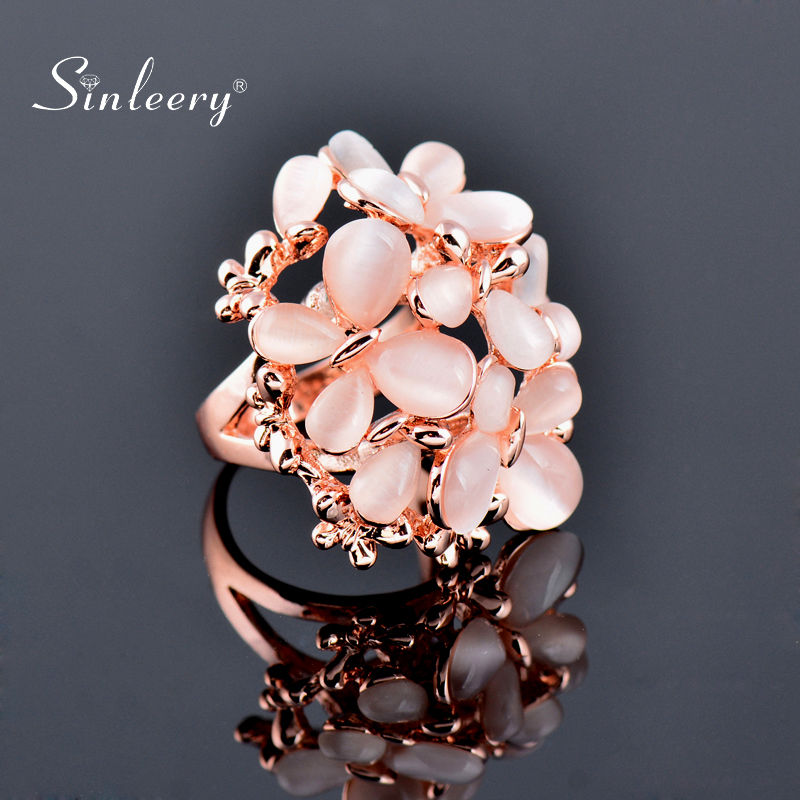 SINLEERY Luxurious Beige Opal Butterfly Big Rings Size 6 7 8 9 10 For Women Wedding Party Jewelry Christmas Gifts JZ196 SSA