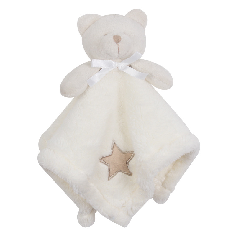 Furry Soft Baby Stuffed Animal Soothe Blanket Bashful Baby Animal Security Blanket Bear Pacify Towel Newborn Appease Blanket