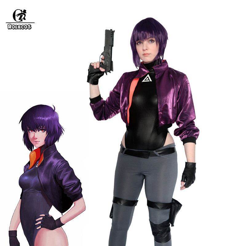 ROELCOS Ghost in the Shell Motoko Cosplay Kusanagi Motoko Cosplay <font><b>Costume</b></font> Women <font><b>Sexy</b></font> <font><b>Costume</b></font> Leather Jumsuit <font><b>Anime</b></font> <font><b>Halloween</b></font> image