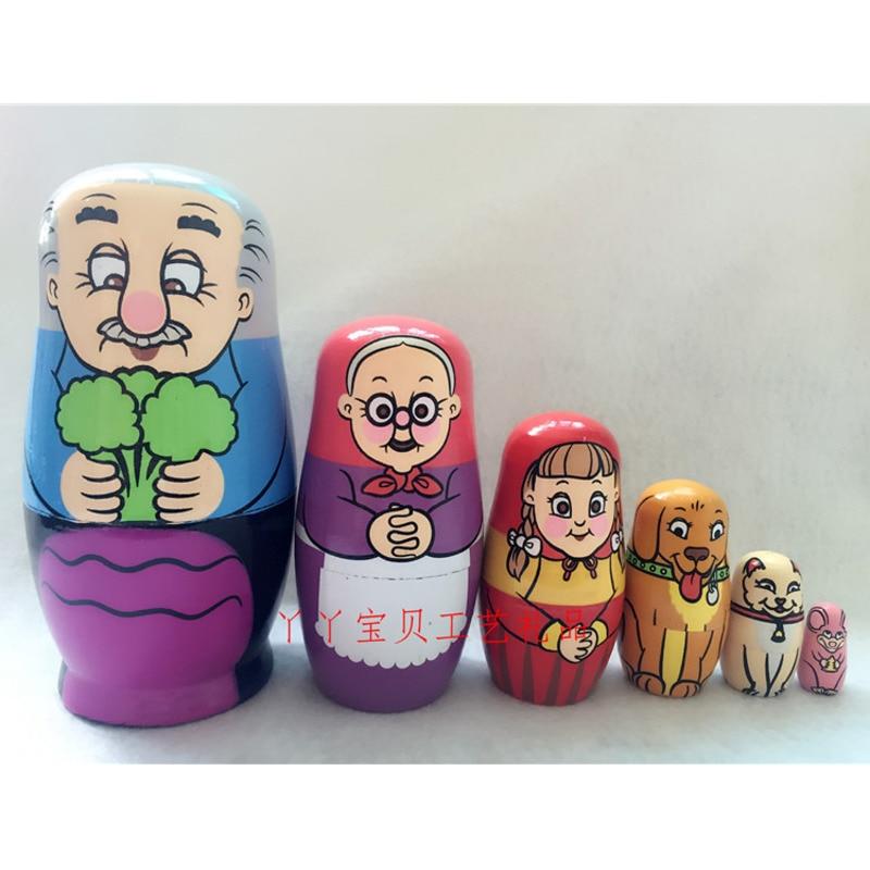6 шт./упаковка, Детские деревянные игрушки-матрешки