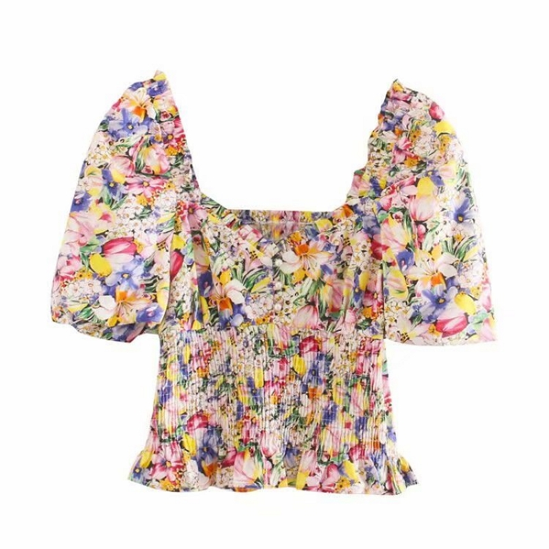 2020 New Women V Neck Chic Floral Print Casual Slim Smock Blouse Female Puff Sleeve Elastic Shirts Leisure Chemise Tops LS6547