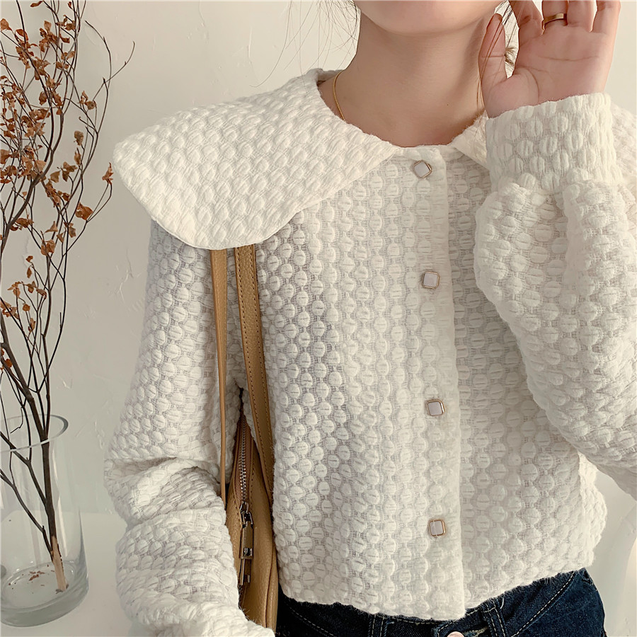 H188c4b42cbe24a1b9d51b4b1e4f2d3cfk - Spring / Autumn Big Lapel Long Sleeves French Lace Buttons Blouse