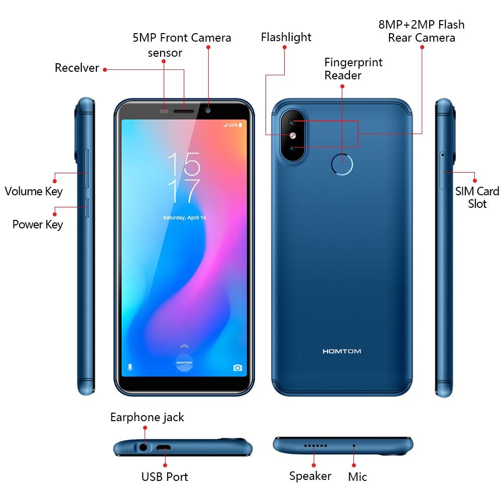 Version mondiale HOMTOM C2 Android 8.1 2GB + 16GB téléphone portable Face ID MTK6739 Quad Core 13MP double caméra OTA 4G FDD LTE Smartphone - 5