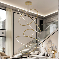 Modern LED chandeliers ring staircase light gold stainless steel chandeliers lighting villa lobby decoration lamp project lights