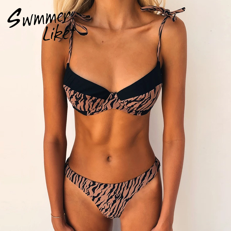 Patchwork Bathing Suit Animal Print Bikinis 2020 Mujer High Cut Swimwear Women Underwire Swimsuit Female Push Up Biquini Bathers