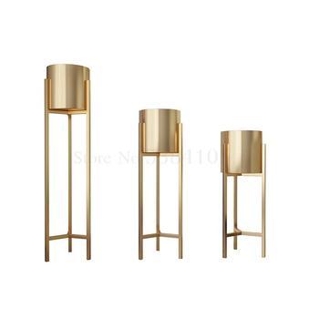 Estante nórdico de pie con flores doradas, soporte para maceta de hierro forjado de lujo, para sala de estar y Casa, decorativo