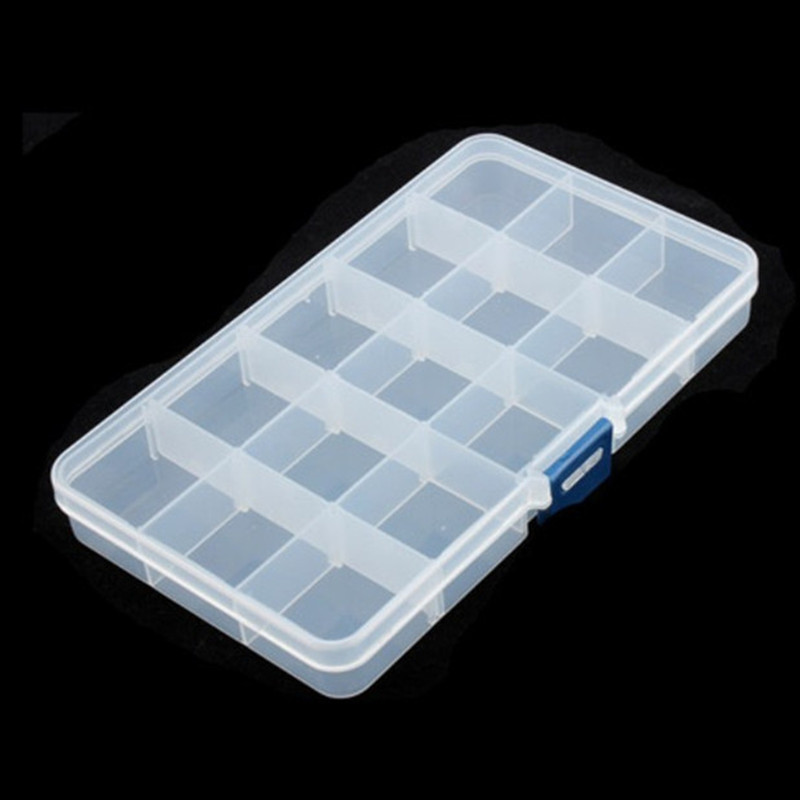 15 Slots Plastic  Hook Tackle Box Storage Case Organizer Jwelry Box Tool Jewelry Organizer Storage Beads  Jewelry Boxes