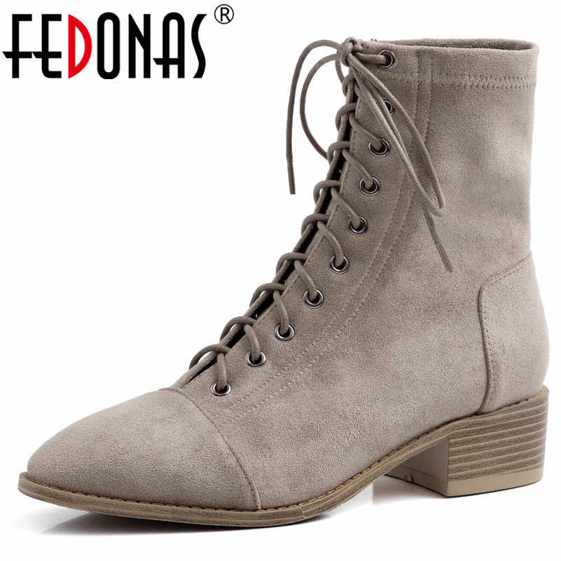 FEDONAS Classic Cross ผูก Flock รองเท้าเชลซี 2020 ฤดูหนาวผู้หญิงข้อเท้ารองเท้าเต้นรำรองเท้าผู้หญิงใหม่ Elegant สั้น