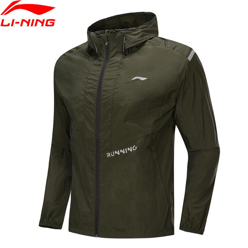 Li-Ning Men Running Windbreaker 100% Nylon Anti UV Regular Fit Tops Comfort Li Ning LiNing Hooded Sports Coats AFDP219 MWF404