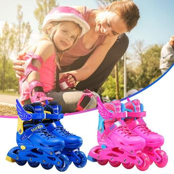 Comfortable and Breathable Skates Roller High Elastic Resin Filling Inline Skates with four Sizes Adjustment for Kids Boys Girls