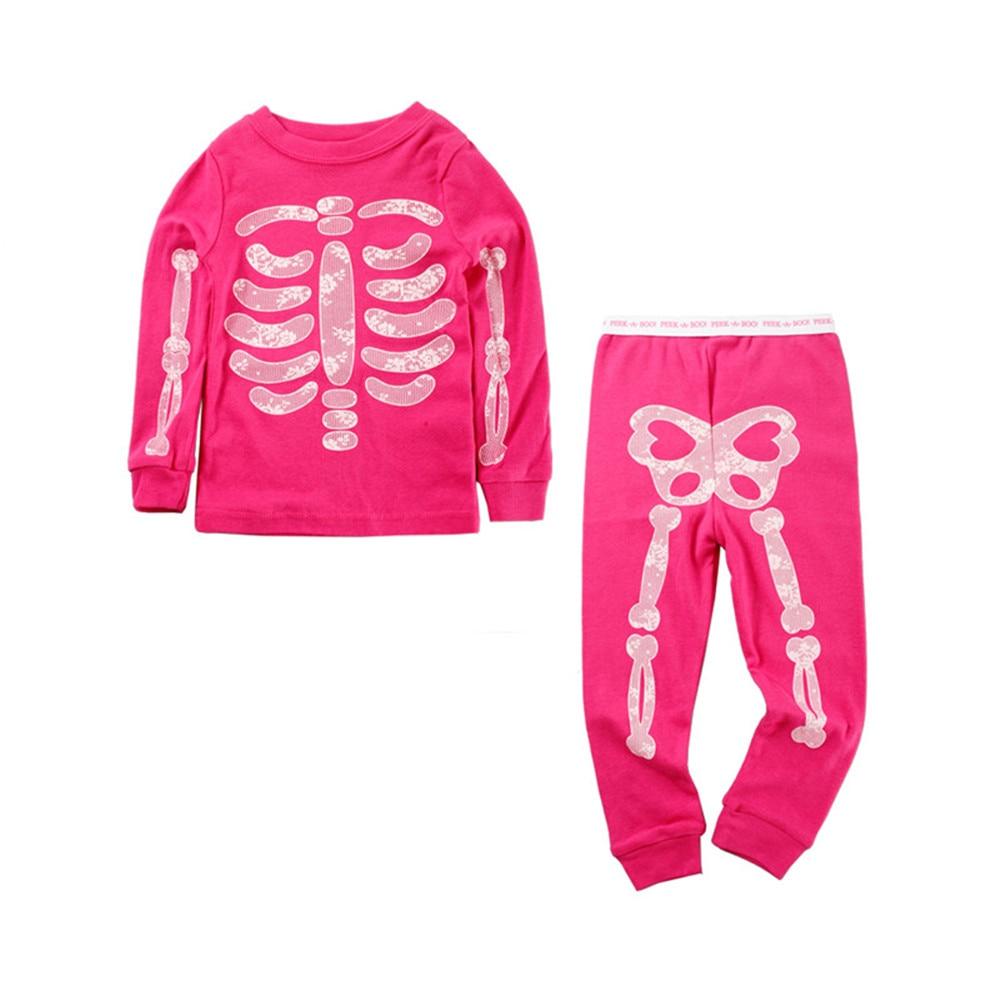 Mudkingdom Boys Girls Pajama Set Long Sleeve Halloween Skeleton Glowing Kids Pajamas Outfits Autumn Funny Sleepwear Kids 2
