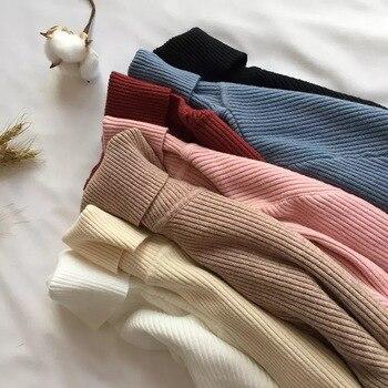 Lucyever Turtleneck Women Knitted Pullovers Sweater Fashion Autumn Winter Soft Jumper Korean Slim Long Sleeve Girls Basic Tops 6