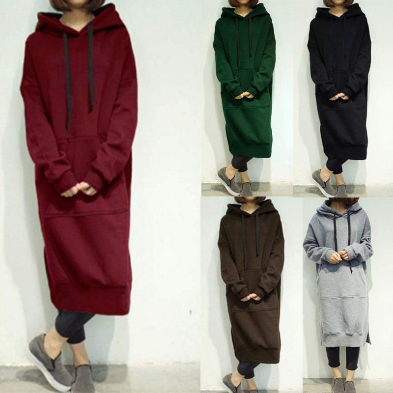 Casual Spring Autumn Women Long Pullover Fleece Hooded Plus Size Sweatshirt Dress Solid Hoodies 6 Colors Oversize Tops