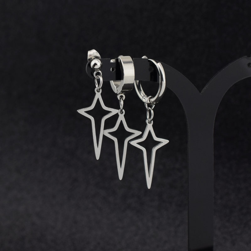 Kpop Dangle Earrings Stainless Steel Cross Star Earrings For Man And Woman Ear Clip Stud Ring Kpop Bangtan Boys Fashion Supplies