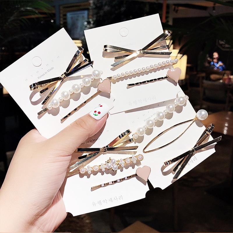 3PCS/Set New Women Girls Elegant Bow Pearls Heart Alloy Hair Clips Sweet Headband Hairpins Barrettes Fashion Hair Accessories