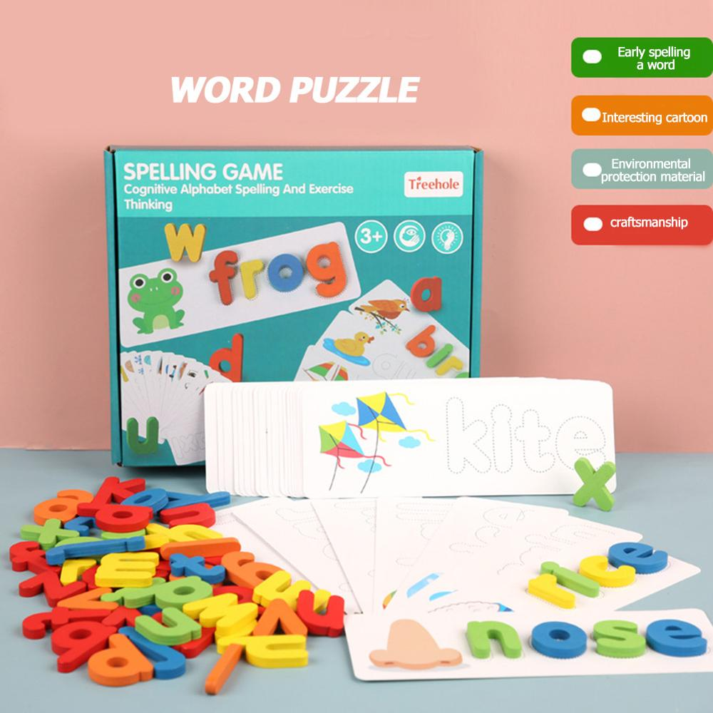 Spelling Word Puzzle Game Toy Sets English 26 Letters Recognition Alphabet Toddler Kid Early Educational Cognition Props