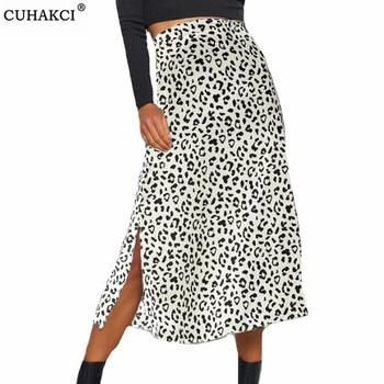 CUHAKCI Leopard Print Long Skirts Women High Waist Midi Summer Split Wrap Lady Beach Polyester White Black Plus Size Sexy Skirt