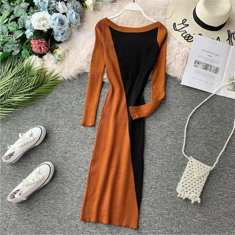 2019 femmes automne longue robe élégante a-ligne bureau dame Slash cou à manches longues Patchwork tricot robes