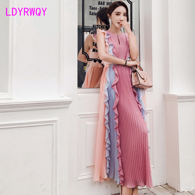 2020 Summer New Pleated Colorblock Lotus Leaf Chiffon Long  Rainbow Dress Office Lady  Cotton  Sleeveless 4