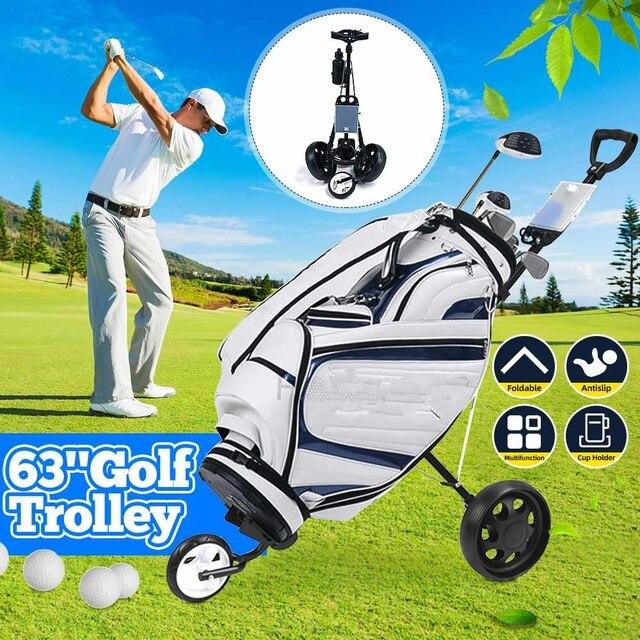 Golf trolley Professional Folding Golf Bag Trolley Outdoor Sports Multifunctional Range supplies foldable push pull golf cart 1