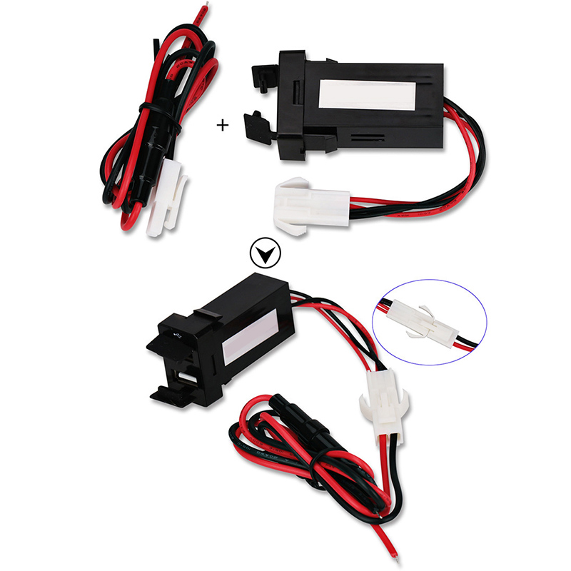Car DIY Flush Mount Dual USB Female To Male Extension Cable Charging Smartphone