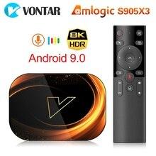 2020 vontar x3 8k amlogic s905x3 4gb ram 64gb caixa de tv android 9.0 conjunto superior caixa dupla wifi 4k youtube caixa de tv inteligente 4g 32g