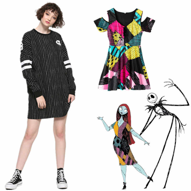 Nightmare Before Christmas Jurk Jack Skellington Casual Skater Jurken Daily Party Stretchy Jurk Wxc