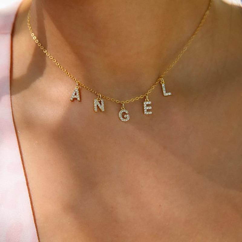DODOAI заказное ожерелье с кристаллами, ожерелье с буквенным принтом, ожерелье с индивидуальным именем, ожерелье с кристаллами и буквенным при...