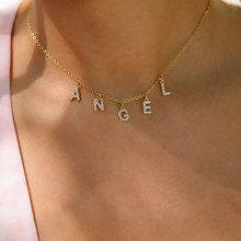 Colar de diamante feito sob encomenda de dodoai, pavimentar colar de carta de cristal, colar de nome personalizado, colar de pingente de carta de diamante jóias