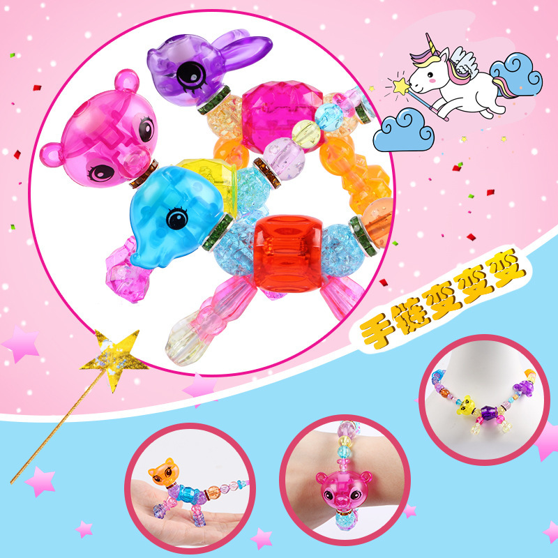 Flexible Bracelets Children'S Educational Transformation Toy Animals 4-6-Year-Old Women's Creative GIRL'S Handmade DIY Beaded Br