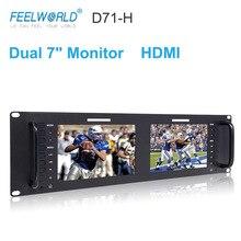Feelworld D71 H Dual 7 Inch 3RU IPS 1280 x 800 HDMI LCD Rack Mount Monitor Portable 2 Screens Broadcast Monitor