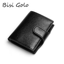 BISI GORO 2020 PU Leather Men Wallet Women Small Card Holder Smart Slim RFID Ladies Card Case Anti-theft Fashion Solid Money Bag(China)