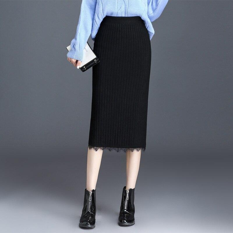Lace Knitted Skirt Women's Autumn And Winter Mid-length High-waisted Yarn Skirt Skirt Slimming Fishtail Skirt Straight Skirt